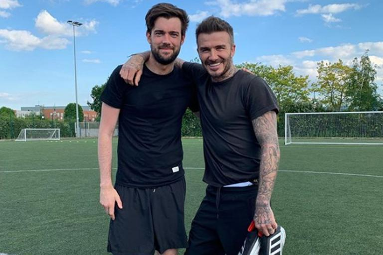 David Beckham hits the football pitch with Jack Whitehall ahead of Old Trafford return
