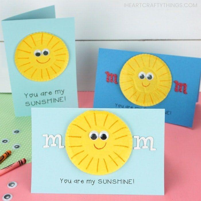 """<p>This part printable, part DIY card is great for your littlest kids to create. You can't help but smile at this cheery sun!</p><p><strong>Get the tutorial at <a href=""""https://iheartcraftythings.com/you-are-my-sunshine-mothers-day-card.html"""" rel=""""nofollow noopener"""" target=""""_blank"""" data-ylk=""""slk:I Heart Crafty Things"""" class=""""link rapid-noclick-resp"""">I Heart Crafty Things</a>. </strong></p><p><a class=""""link rapid-noclick-resp"""" href=""""https://go.redirectingat.com?id=74968X1596630&url=https%3A%2F%2Fwww.walmart.com%2Fsearch%2F%3Fquery%3Dcard%2Bstock&sref=https%3A%2F%2Fwww.thepioneerwoman.com%2Fholidays-celebrations%2Fg35668391%2Fdiy-mothers-day-cards%2F"""" rel=""""nofollow noopener"""" target=""""_blank"""" data-ylk=""""slk:SHOP CARD STOCK"""">SHOP CARD STOCK</a></p>"""