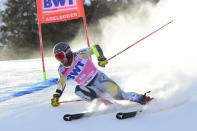 Norway's Aleksander Aamodt Kilde speeds down the course during an alpine ski, men's World Cup Giant slalom, in Adelboden, Switzerland, Saturday, Jan. 9, 2021. (AP Photo/Marco Tacca)