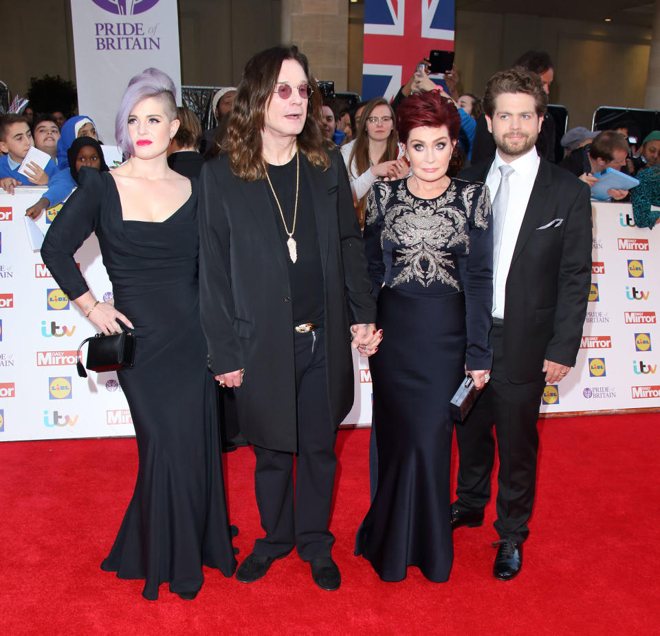 Kelly Osbourne, Ozzy Osbourne, Sharon Osbourne and Jack Osbourne attend the Pride of Britain awards at The Grosvenor House Hotel on September 28, 2015 in London, England.  (Photo by Mike Marsland/WireImage)