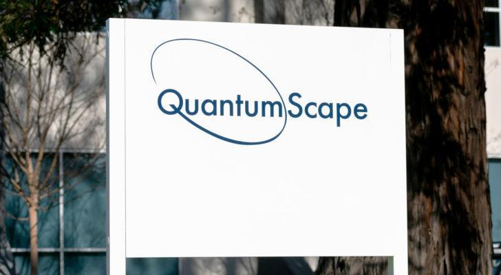 A QuantumScape sign at the company's headquarters.