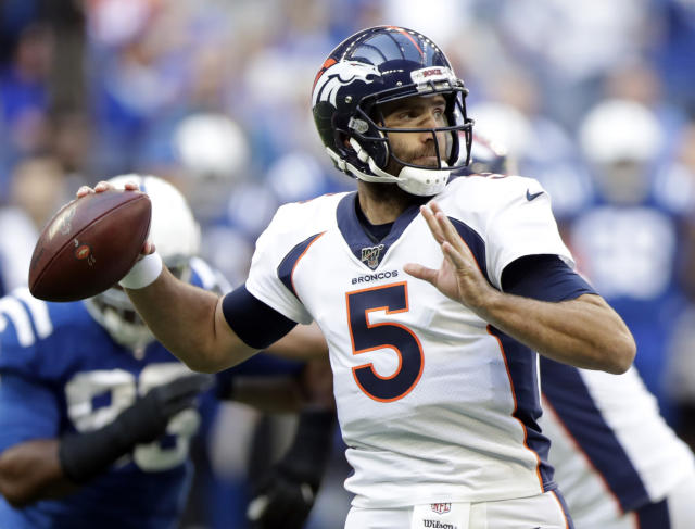 FILE - In this Oct. 27, 2019, file photo, Denver Broncos quarterback Joe Flacco (5) throws during the first half of an NFL football game against the Indianapolis Colts in Indianapolis. The New York Jets and Flacco have agreed to terms on a one-year deal, the 2013 Super Bowl MVP's agency announced on Twitter. (AP Photo/Michael Conroy, File)
