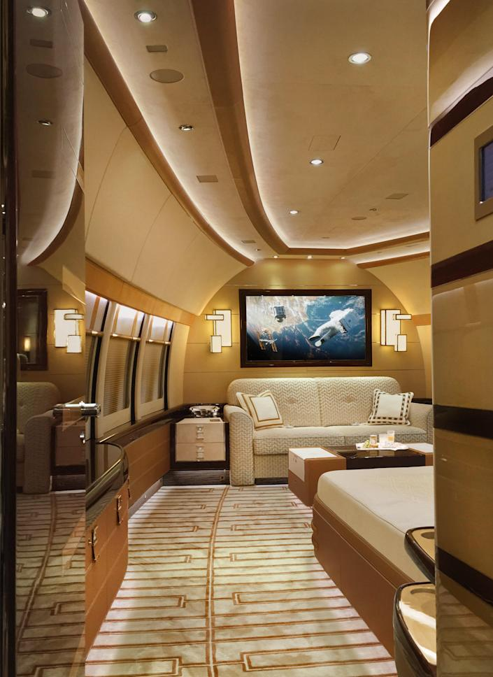 The Alberto Pinto–designed 747 could easily be mistaken for a yacht.