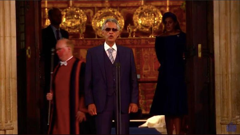Andrea Bocelli singing at the royal wedding of Princess Beatrice of York and Jack Brooksbank. (Photo: )