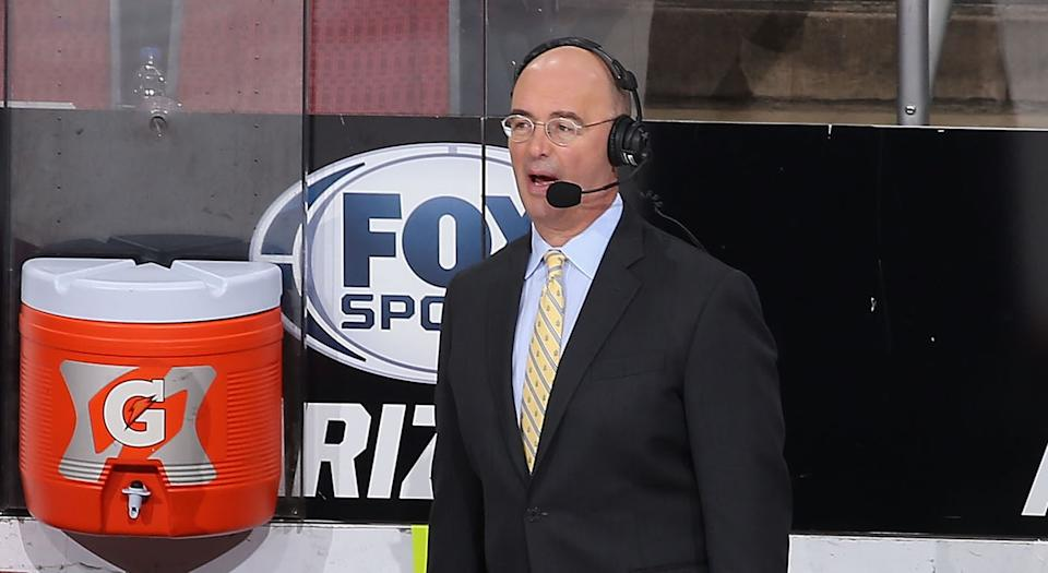 GLENDALE, ARIZONA - JANUARY 16:  Hockey analyst Pierre McGuire during the second period of the NHL game between the Arizona Coyotes and the San Jose Sharks at Gila River Arena on January 16, 2019 in Glendale, Arizona. (Photo by Christian Petersen/Getty Images)