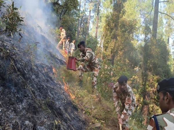ITBP personnel douse fire in the Barahat range forests of the Uttarkashi district in Uttarakhand on Sunday. (Photo/ANI)