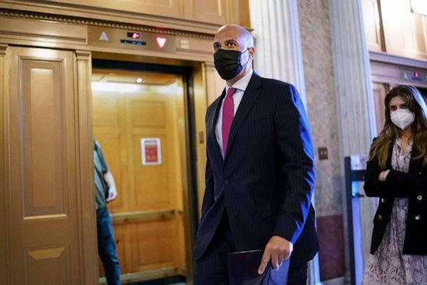 PHOTO: Sen. Cory Booker arrives at the Senate chamber at the Capitol in Washington, Wednesday, Sept. 22, 2021, after bipartisan congressional talks on overhauling policing practices ended without an agreement. (J. Scott Applewhite/AP)