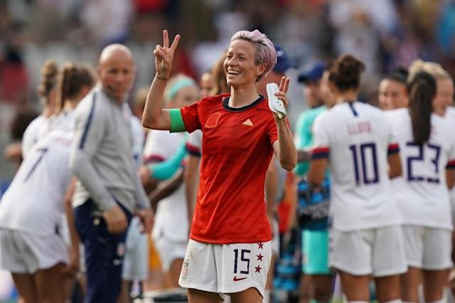 Megan Rapinoe's brace of penalties allowed the United States to edge out Spain and set up a quarter-final showdown with hosts France (AFP Photo/Lionel BONAVENTURE)
