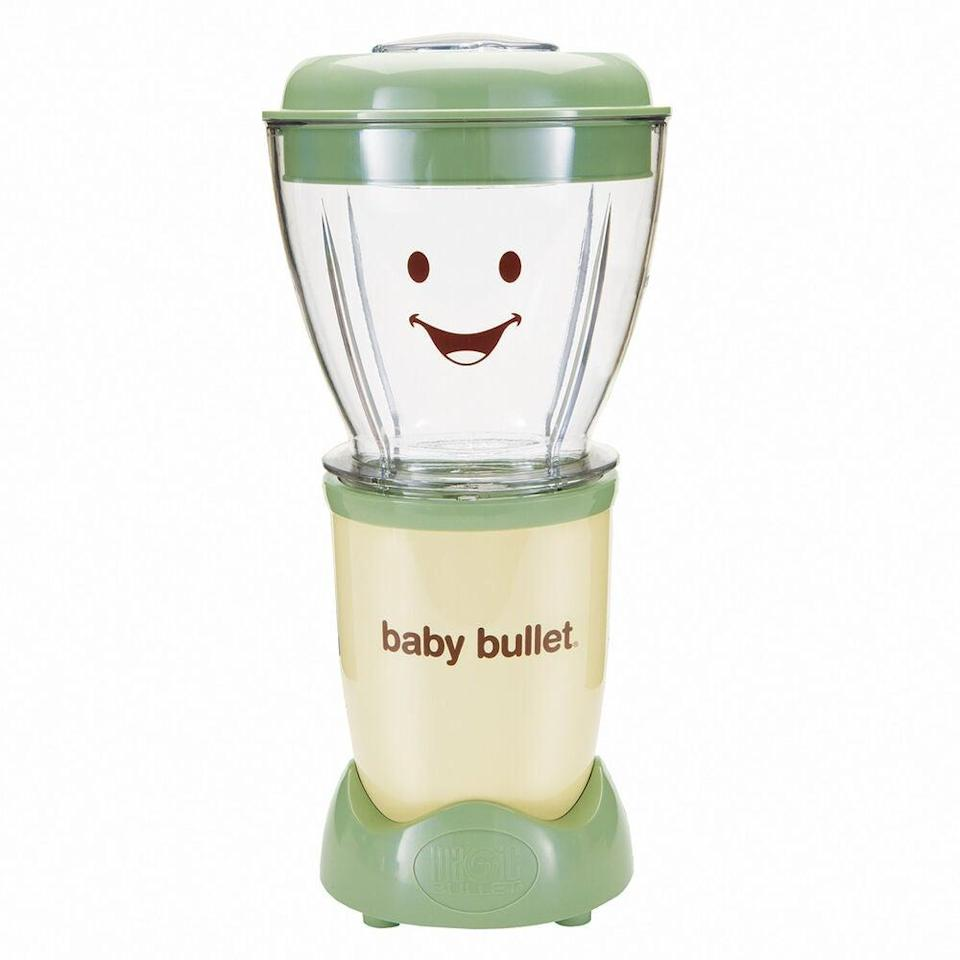 "<h3>Nutribullet Baby Bullet Blender</h3> <br>It'll take extra time and effort than stocking up on tiny jars of Gerber, but if you want to meal prep for your tot, this sized-down version of the Nutribullet (complete with portioned containers) is hands-down, the easiest way to whip up your own baby food at home.<br><br><strong>Nutribullet</strong> Baby Bullet Blender, $, available at <a href=""https://go.skimresources.com/?id=30283X879131&url=https%3A%2F%2Fwww.surlatable.com%2Fnutribullet-baby-bullet%2F5776232.html"" rel=""nofollow noopener"" target=""_blank"" data-ylk=""slk:Sur La Table"" class=""link rapid-noclick-resp"">Sur La Table</a><br>"