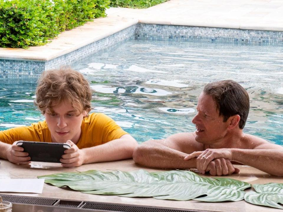 Hechinger, pictured here with Steve Zahn, plays a tech-addicted teen in 'The White Lotus' (Sky)