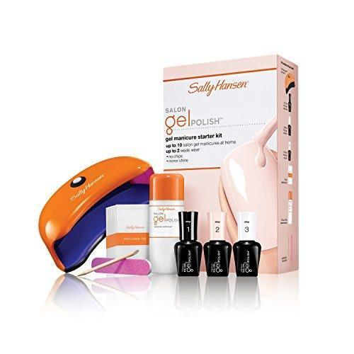 """<p><strong>Sally Hansen</strong></p><p>amazon.com</p><p><strong>$55.97</strong></p><p><a href=""""https://www.amazon.com/dp/B00A3WR5C6?tag=syn-yahoo-20&ascsubtag=%5Bartid%7C10055.g.32816631%5Bsrc%7Cyahoo-us"""" rel=""""nofollow noopener"""" target=""""_blank"""" data-ylk=""""slk:Shop Now"""" class=""""link rapid-noclick-resp"""">Shop Now</a></p><p>This beloved nail polish brand also makes a gel kit. This one <strong>just takes three steps to finished nails,</strong> and the LED light that comes with it helps cut drying time. """"The LED light was super convenient, even though I was hesitant about getting a smaller lamp,"""" said one reviewer. """"It's the perfect size.""""<br></p>"""