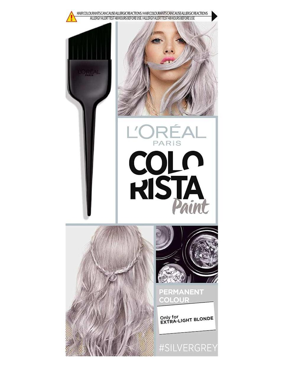 """<p>The <a rel=""""nofollow noopener"""" href=""""https://www.popsugar.com/buy/L%27Or%C3%A9al%20Colorista%20Paint%20Silver%20Grey%20Permanent%20Hair%20Dye-407298?p_name=L%27Or%C3%A9al%20Colorista%20Paint%20Silver%20Grey%20Permanent%20Hair%20Dye&retailer=boots.com&price=9&evar1=bella%3Aus&evar9=45703030&evar98=https%3A%2F%2Fwww.popsugar.com%2Fbeauty%2Fphoto-gallery%2F45703030%2Fimage%2F45703092%2FExact-L%C3%A9al-Product-She-Used-Dye-Her-Hair&prop13=api&pdata=1"""" target=""""_blank"""" data-ylk=""""slk:L'Oréal Colorista Paint Silver Grey Permanent Hair Dye"""" class=""""link rapid-noclick-resp"""">L'Oréal Colorista Paint Silver Grey Permanent Hair Dye</a> ($9) appears to only be available online in the UK - time to hit up those relatives across the pond!</p>"""