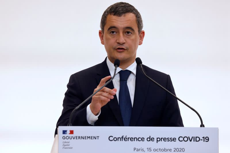 FILE PHOTO: French Interior Minister Gerald Darmanin speaks during a press conference in Paris