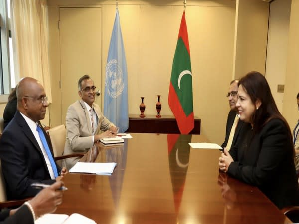 Union Minister of State (MoS) for External Affairs Meenakshi Lekhi meeting Abdulla Shahid, UNGA President-elect. Picture Courtesy: Twitter/M_Lekhi