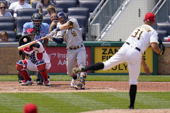 Pittsburgh Pirates starting pitcher Tyler Anderson (31) strikes out Milwaukee Brewers' Keston Hiura (18) during the sixth inning of a baseball game in Pittsburgh, Sunday, July 4, 2021. (AP Photo/Gene J. Puskar)