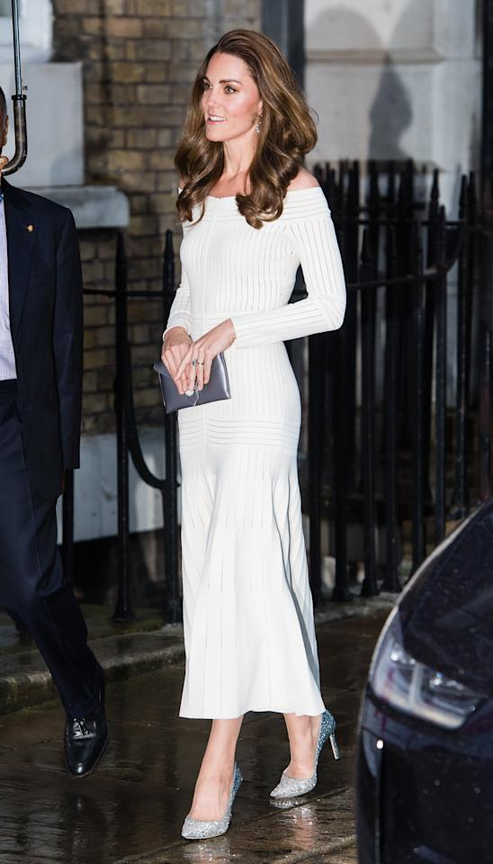 Kate brought back a fan favourite for the first annual gala dinner in recognition of Addiction Awareness Week - her off-the-shoulder Barbara Casasola dress with her glittery Jimmy Choo pumps and a new metallic clutch bag from Wilbur & Gussie. She accessorised with her Kiki McDonough topaz and diamond hoop earrings. <em>[Photo: Getty]</em>