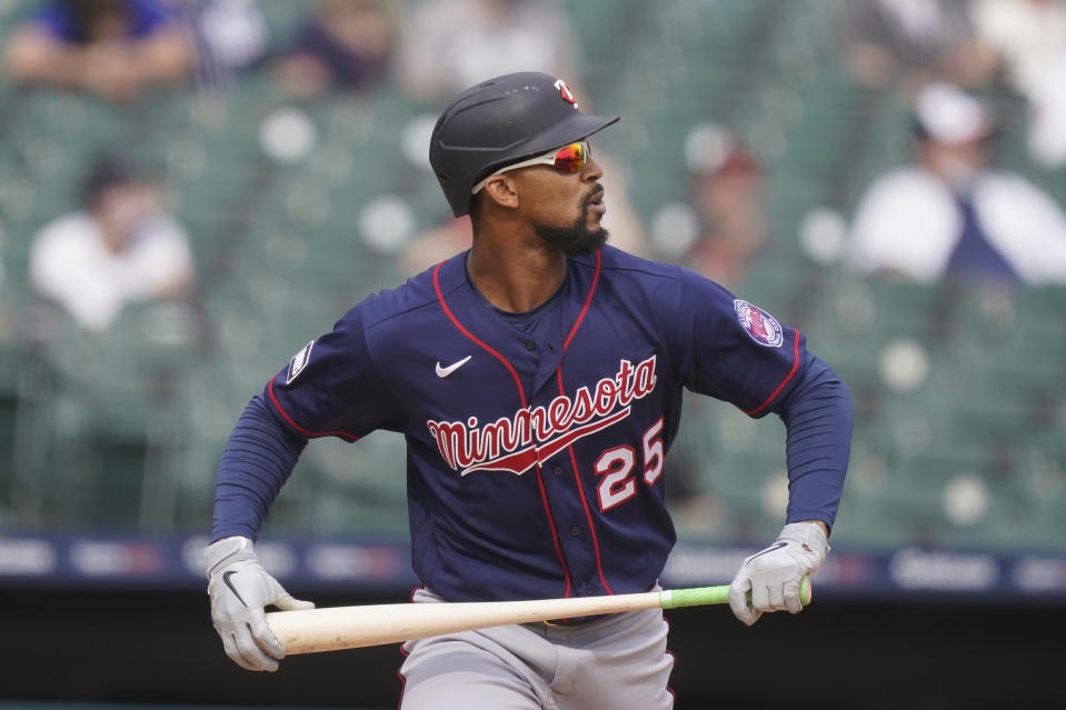 Minnesota Twins' Byron Buxton watches his solo home run during the eighth inning of a baseball game against the Detroit Tigers, Tuesday, April 6, 2021, in Detroit. (AP Photo/Carlos Osorio)
