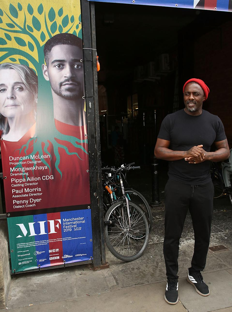"MANCHESTER, ENGLAND - JULY 04:  Idris Elba arrives for the press night performance of ""Tree"" by Idris Elba and Kwame Kwei-Armah during the Manchester International Festival at Upper Campfield Market Hall on July 4, 2019 in Manchester, England.  (Photo by David M. Benett/Dave Benett/Getty Images)"