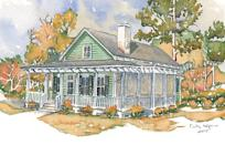 """<p>Empty nesters will flip for this Lowcountry cottage. This one-story plan features amble porch space, an open living-and-dining area, and a cozy home office. The bedrooms are tucked away from all the action in the back of the house.</p> <p>Two bedrooms, two baths</p> <p>1,422 square feet</p> <p>See plan: <a href=""""https://houseplans.southernliving.com/plans/SL1876?index=3&search%5Bbedrooms%5D%5B%5D=2&search%5Bplan%5D=&search%5Butf8%5D=✓"""" rel=""""nofollow noopener"""" target=""""_blank"""" data-ylk=""""slk:Woodward (SL-1876)"""" class=""""link rapid-noclick-resp"""">Woodward (SL-1876) </a></p>"""
