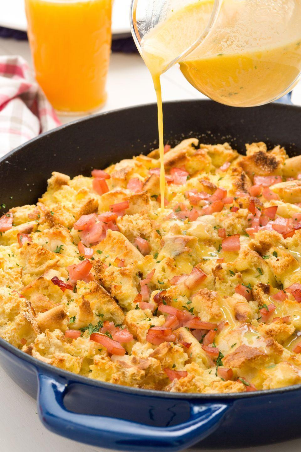 """<p>Always order eggs benny when out to brunch? Recreate the fave at home with this one-pan dish.</p><p>Get the recipe from <a href=""""/cooking/recipe-ideas/recipes/a45032/eggs-benedict-skillet-casserole-recipe/"""" data-ylk=""""slk:Delish"""" class=""""link rapid-noclick-resp"""">Delish</a>.</p>"""