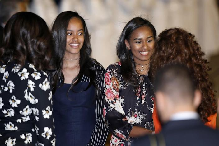 <p>Malia obama, second from left, and Sasha Obama are welcomed at Menara Airport in Marrakech, Morocco, Monday, June 27, 2016. (AP Photo/ Abdeljalil Bounhar) </p>