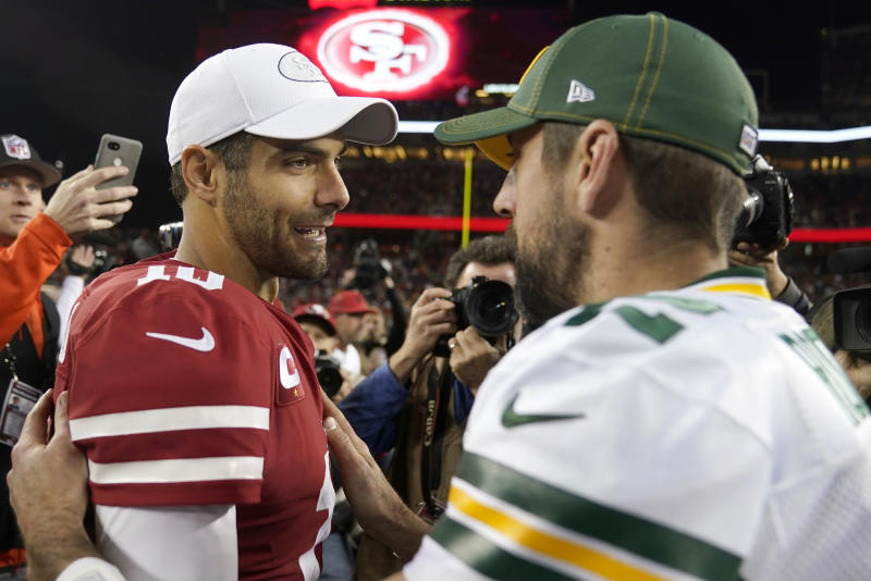 Green Bay Packers quarterback Aaron Rodgers (right) looked frustrated and outmatched against the San Francisco 49ers in Week 12. Don't expect the same for the NFC Championship. (AP Photo/Tony Avelar)
