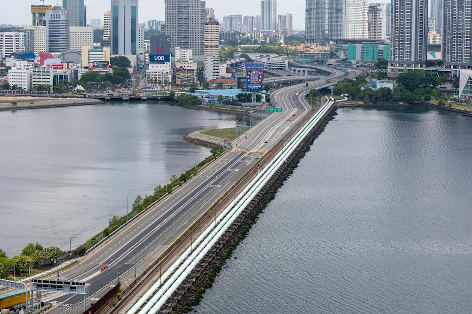 The Singapore-Malaysia Causeway seen devoid of any traffic on 18 March 2020. (PHOTO: Dhany Osman / Yahoo News Singapore)