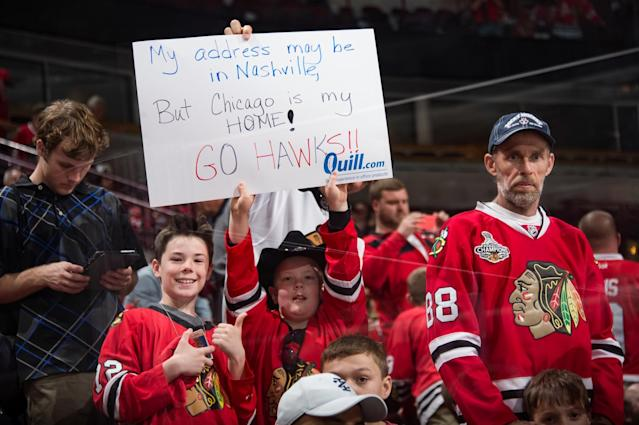 <p>A fan holds up a sign during Game Two of the Western Conference First Round between the Chicago Blackhawks and the Nashville Predators during the 2017 NHL Stanley Cup Playoffs at the United Center on April 15, 2017 in Chicago, Illinois. (Photo by Bill Smith/NHLI via Getty Images) </p>