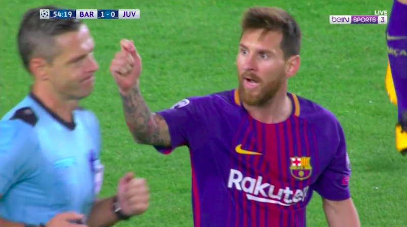 Messi attempts to get a yellow card for Pjanic. Pic: beIN