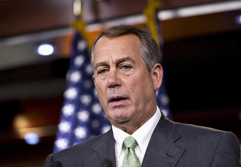"House Speaker John Boehner of Ohio meets with reporters on Capitol Hill in Washington, Thursday, July 25, 2013. Boehner elevated his criticism of fellow Republican Rep. Steve King over King's suggestion that many unauthorized immigrants are drug runners, calling the comments ""deeply offensive and wrong."" (AP Photo/J. Scott Applewhite)"