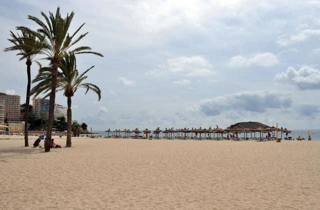 A view of the beach in Magaluf, Majorca, Spain (Nick Ansell/PA)