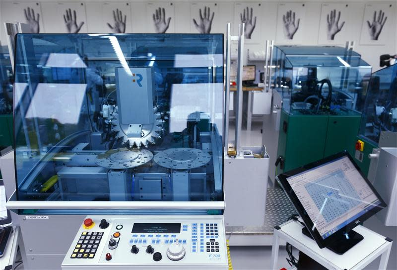 The Tag Heuer production machine is seen in their new watch manufactory in Chevenez