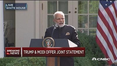 India Prime Minister Narendra Modi and President Donald Trump deliver a joint statement at the White House.
