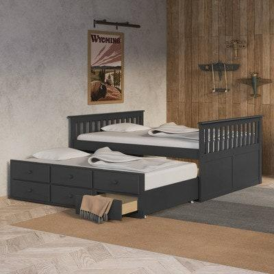 "<p>This trundle bed has everything: extra room for guests and three storage drawers. It's the best of both worlds and is available in white, espresso, and grey (pictured).</p> <p><strong>Sizes Available:</strong> Full </p> <p><strong>Star Rating:</strong> 5 out of 5</p> <p><strong>Customer Review:</strong> ""This bed is a wonderful addition to my son's bedroom. We absolutely love the rich grey color. It is sturdy and very well made. The trundle underneath is great for sleepovers or when grandma visits. We love the built-in storage drawers. A perfect choice!"" —<em>Elizabeth</em></p> $568, Target. <a href=""https://www.target.com/p/full-lagoon-captain-39-s-bed-with-trundle-gray-storkcraft/-/A-79767777"" rel=""nofollow noopener"" target=""_blank"" data-ylk=""slk:Get it now!"" class=""link rapid-noclick-resp"">Get it now!</a>"