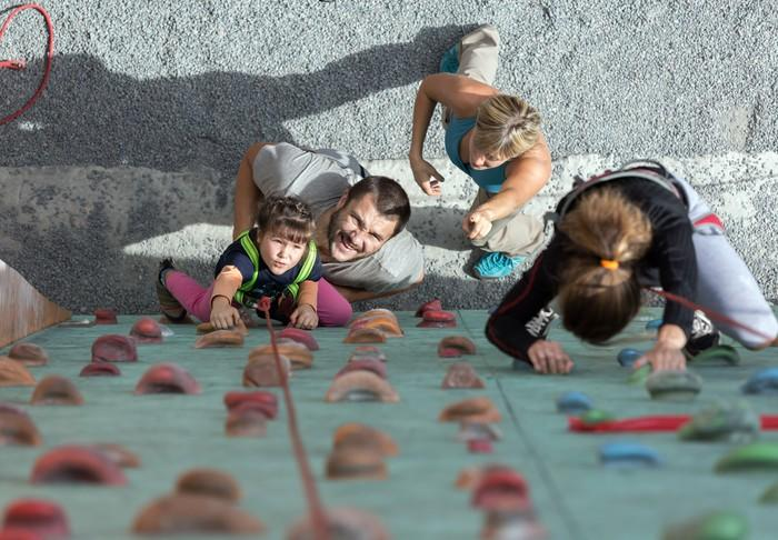 View from top of a climbing wall.