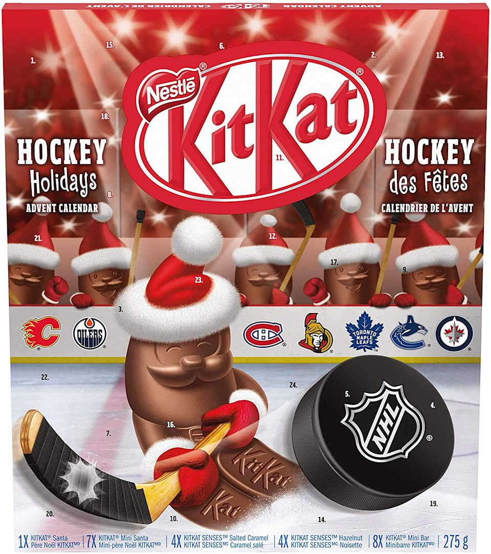 The Nestlé KitKat Hockey Holidays NHL Advent Calendar is on sale through Amazon.