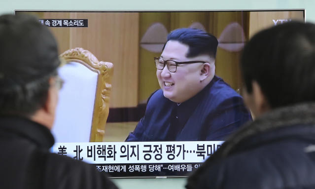 "<p> People watch a TV screen showing North Korean leader Kim Jong Un at the Seoul Railway Station in Seoul, South Korea, Wednesday, March 7, 2018. After years of refusal, North Korean leader Kim Jong Un is willing to discuss the fate of his atomic arsenal with the United States and has expressed a readiness to suspend nuclear and missile tests during such talks, a senior South Korean official said Tuesday. Korean letters read: ""Positive evaluation for denuclearization of North Korea."" (AP Photo/Ahn Young-joon) </p>"