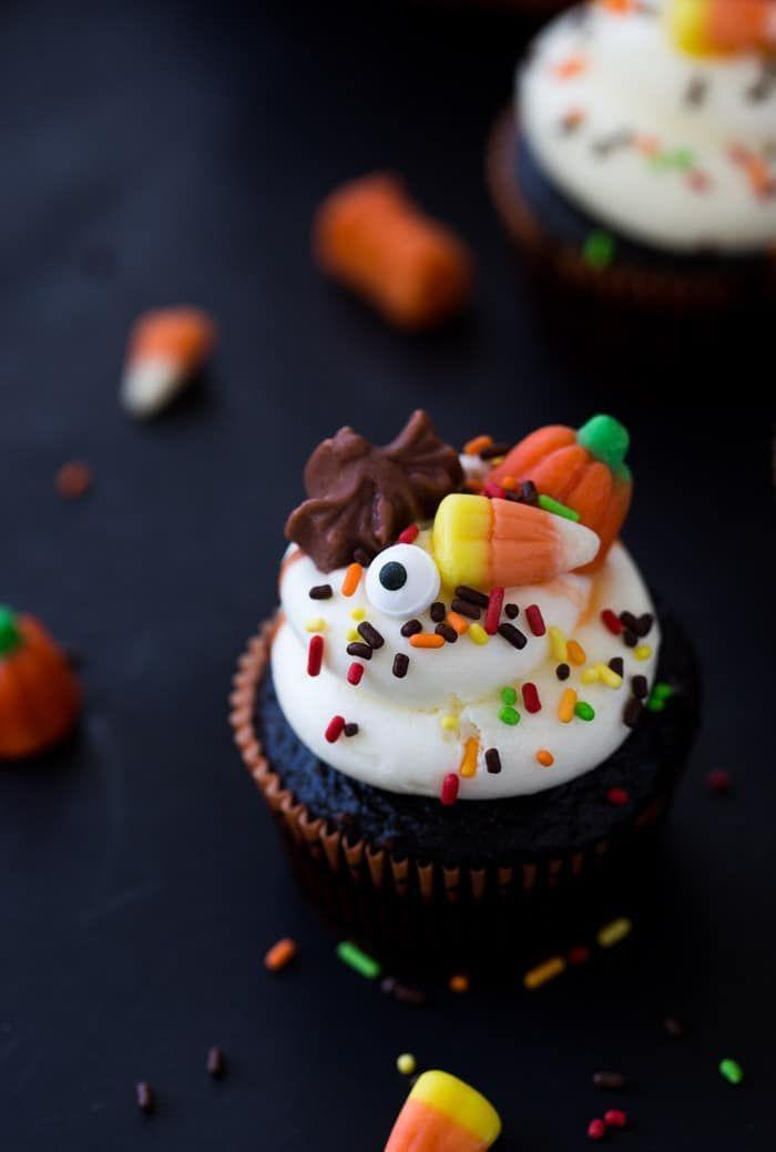"""<p>Bonus: this recipe only uses one bowl!</p><p><em><a href=""""https://aclassictwist.com/chocolate-halloween-cupcakes/"""" rel=""""nofollow noopener"""" target=""""_blank"""" data-ylk=""""slk:Get the recipe from A Classic Twist »"""" class=""""link rapid-noclick-resp"""">Get the recipe from A Classic Twist »</a></em></p>"""