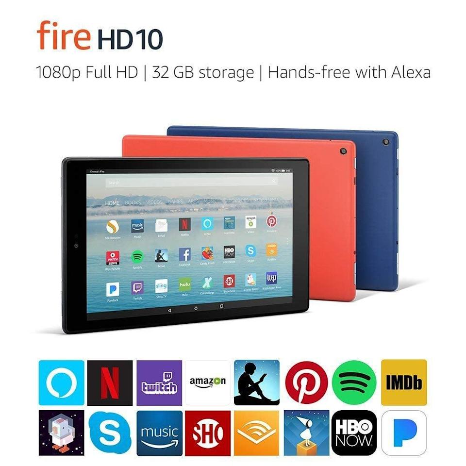 """<p>With a full HD display, this <a href=""""https://www.popsugar.com/buy/Fire-HD-10-Tablet-390061?p_name=Fire%20HD%2010%20Tablet&retailer=amazon.com&pid=390061&price=150&evar1=news%3Aus&evar9=36026397&evar98=https%3A%2F%2Fwww.popsugar.com%2Fnews%2Fphoto-gallery%2F36026397%2Fimage%2F45606316%2FFire-HD-10-Tablet&list1=shopping%2Cgifts%2Camazon%2Choliday%2Cgift%20guide%2Cdigital%20life%2Cblack%20friday%2Ccyber%20monday%2Ctech%20shopping%2Cblack%20friday%20sales%2Ctech%20gifts%2Cgifts%20for%20men%2Csales%20and%20deals&prop13=api&pdata=1"""" class=""""link rapid-noclick-resp"""" rel=""""nofollow noopener"""" target=""""_blank"""" data-ylk=""""slk:Fire HD 10 Tablet"""">Fire HD 10 Tablet</a> ($150) has more than 2 million pixels for picture perfect viewing.</p>"""