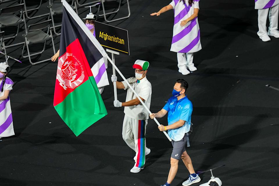 The Paralympic Delegation of Afghanistan parade into Olympic Stadium during the opening ceremony of Tokyo 2020 Paralympic Games in Tokyo, Japan, Aug. 24, 2021. (Photo by Zhang Cheng/Xinhua via Getty Images)