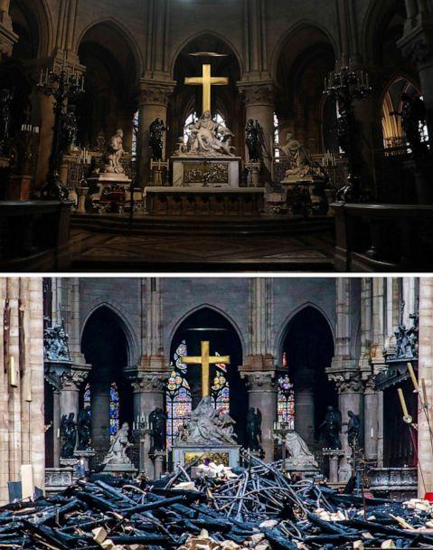 A combination of two pictures made on April 16, 2019, shows above: the heart and transept at Notre Dame de Paris Cathedral in Paris on June 26, 2018, and, bottom, the same view in the aftermath of a fire that devastated the cathedral on April 16, 2019. (Ludovic Marin/AFP/Getty Images)