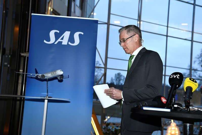 SAS CEO Rickard Gustafson holds a news conference on the company's situation due to the outbreak of coronavirus, at the company's headquarters in Stockholm