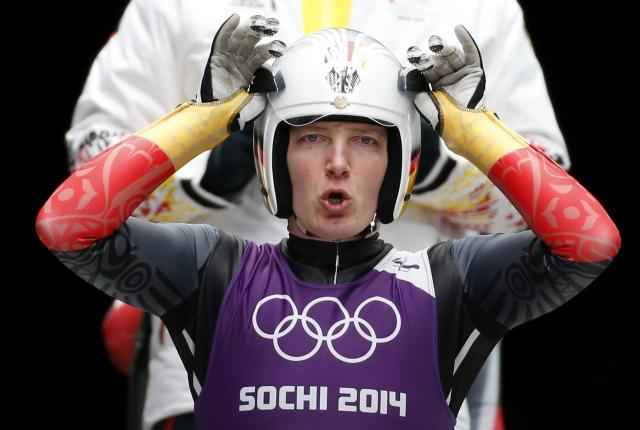 Germany's Tatjana Hueffner prepares for the start during the women's luge training at the Sanki sliding center in Rosa Khutor, a venue for the Sochi 2014 Winter Olympics near Sochi, February 6, 2014. REUTERS/Murad Sezer (RUSSIA - Tags: SPORT LUGE OLYMPICS)