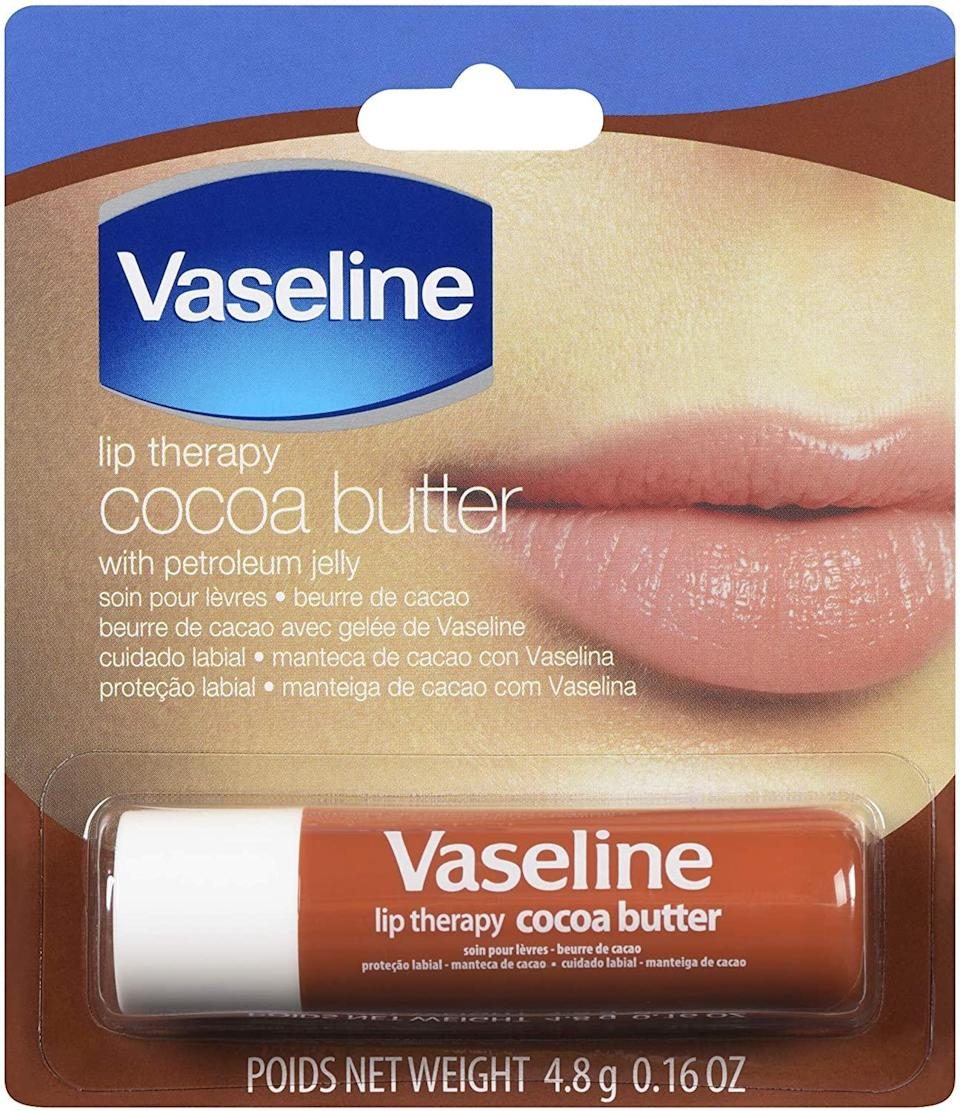 """<h2>Vaseline Lip Therapy Cocoa Butter</h2><br>Everything you need for pillow-soft lips is in this Vaseline tube — from cocoa seed butter and castor oil to glycerin. <a href=""""https://www.drhadleyking.com/"""" rel=""""nofollow noopener"""" target=""""_blank"""" data-ylk=""""slk:Dr. Hadley King"""" class=""""link rapid-noclick-resp"""">Dr. Hadley King</a>, a New York City-based dermatologist, recommends it for hydration and protection of the lips. Bonus: It's also super affordable, so you can throw one in each of your purses without worrying about breaking the bank. <br><br><strong>Vaseline</strong> Vaseline Lip Therapy Cocoa Butter, $, available at <a href=""""https://www.amazon.com/Vaseline-Therapy-Cocoa-Butter-Pack/dp/B07M8JJ7V8"""" rel=""""nofollow noopener"""" target=""""_blank"""" data-ylk=""""slk:Amazon"""" class=""""link rapid-noclick-resp"""">Amazon</a>"""