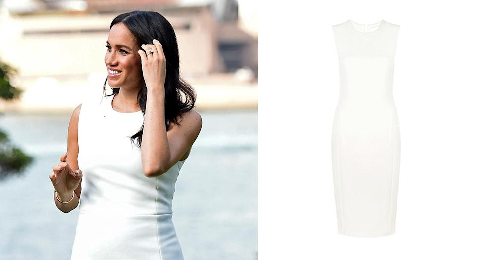 """<p>The Duchess of Sussex kick-started the royal tour in tribute to Australia. The 37-year-old dressed her bump in the aptly-named 'Blessed' dress by under-the-radar designer Karen Gee for the couple's first engagement in Sydney. Within a mere matter of hours the item sold out online but is now available to pre-order. Go, go, go! <a rel=""""nofollow noopener"""" href=""""https://karengee.com/blessed-dress.html"""" target=""""_blank"""" data-ylk=""""slk:Pre-order the dress now"""" class=""""link rapid-noclick-resp""""><strong>Pre-order the dress now</strong></a>. <em>[Photo: Getty]</em> </p>"""