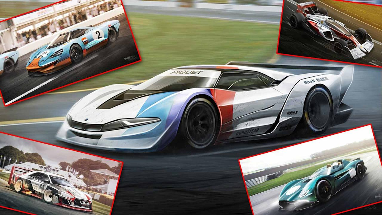 classic race cars rendered  hit  track today