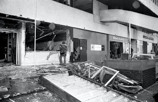 The aftermath of the fatal bomb attack on the Mulberry Bush pub in Birmingham