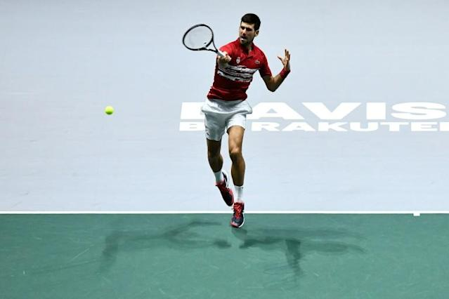 Novak Djokovic in action with Serbia coming close before crashing out (AFP Photo/OSCAR DEL POZO)