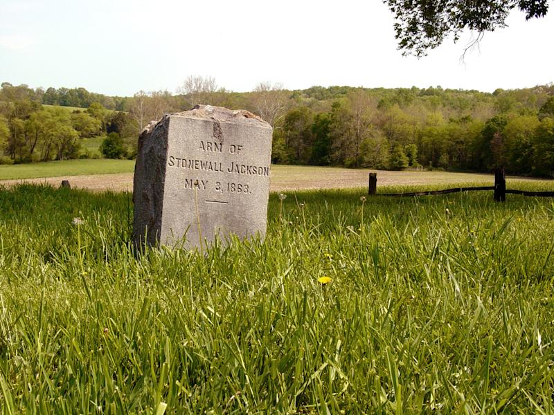 """This photo provided by National Park Service shows a tombstone for a the amputated arm of Confederate Gen. Thomas J. """"Stonewall"""" Jackson near Orange County, Va. On Friday, May 10, 2013, the 150th anniversary of Jackson's death, a trauma surgeon with experience on the battlefield in Iraq and Afghanistan has reinvestigated the medical record to offer a diagnosis of Jackson's death. University of Maryland surgeon Joseph DuBose says Jackson likely died of pneumonia. He is confirming the diagnosis given by Jackson's physician, the famed Confederate doctor Hunter McGuire. (AP Photo/National Park Service)"""
