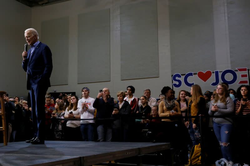 Democratic U.S. presidential candidate and former U.S. Vice President Joe Biden speaks during a campaign event at Coastal Carolina University in Conway